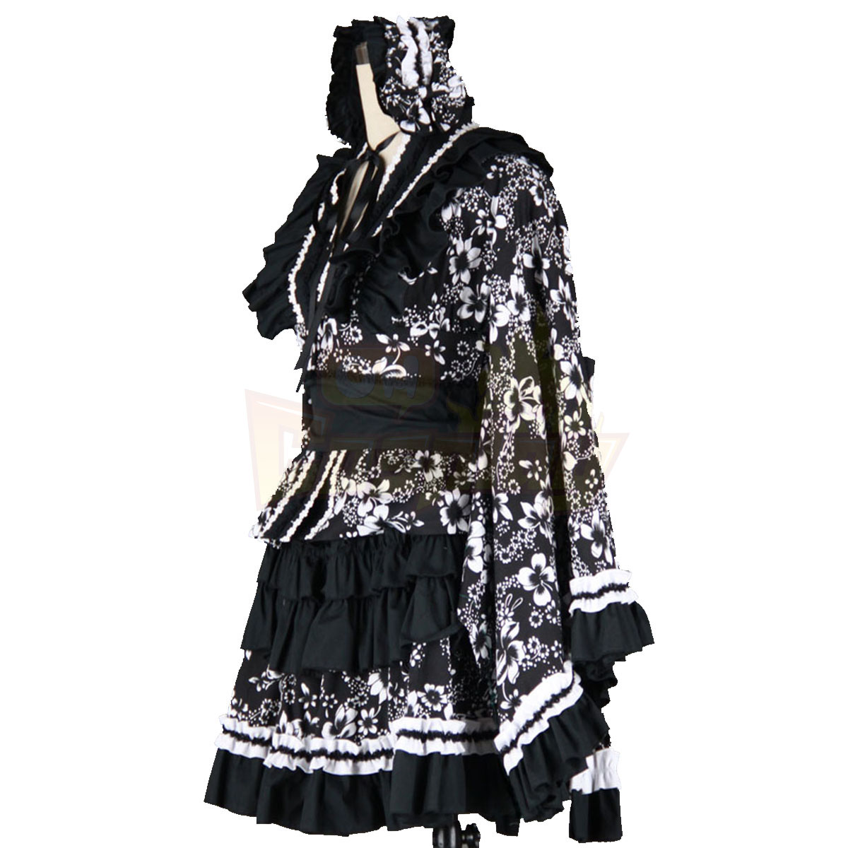 호화로운 로리타 문화 검은 의류 드레스 기모노 코스프레 의상