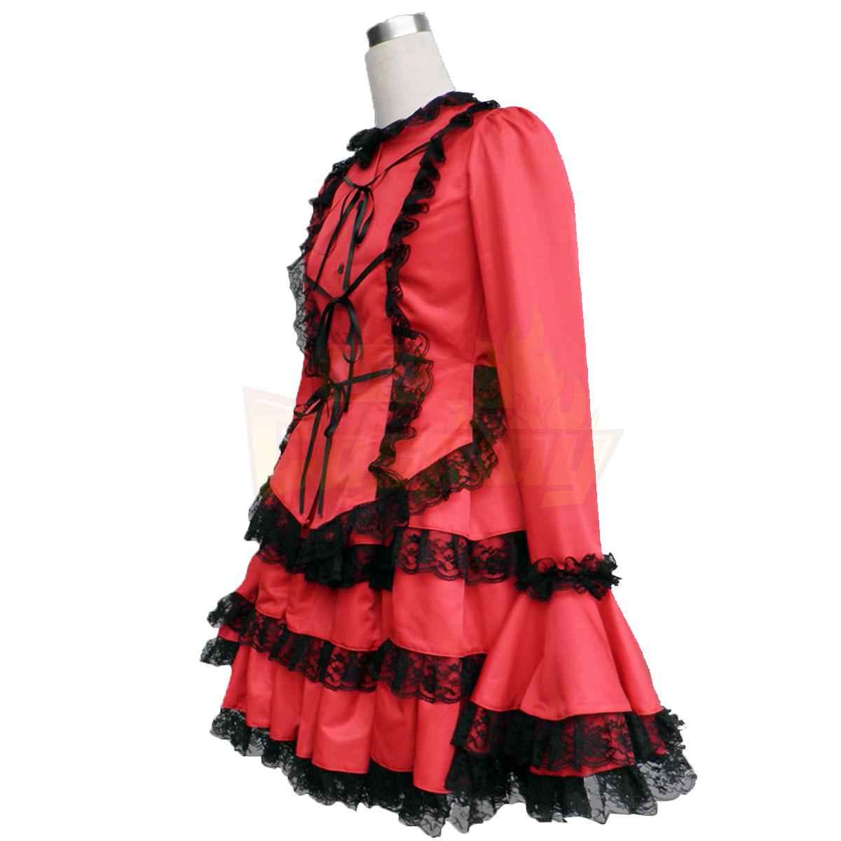 Fantasias Cultura Lolita Coat Tire Vermelho Vestidos Média Trajes Cosplay