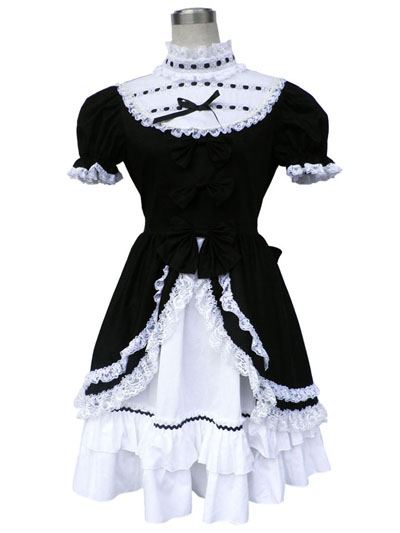 Deluxe Lolita Culture Short Sleeves Tire Raglan Long Dresses Cosplay
