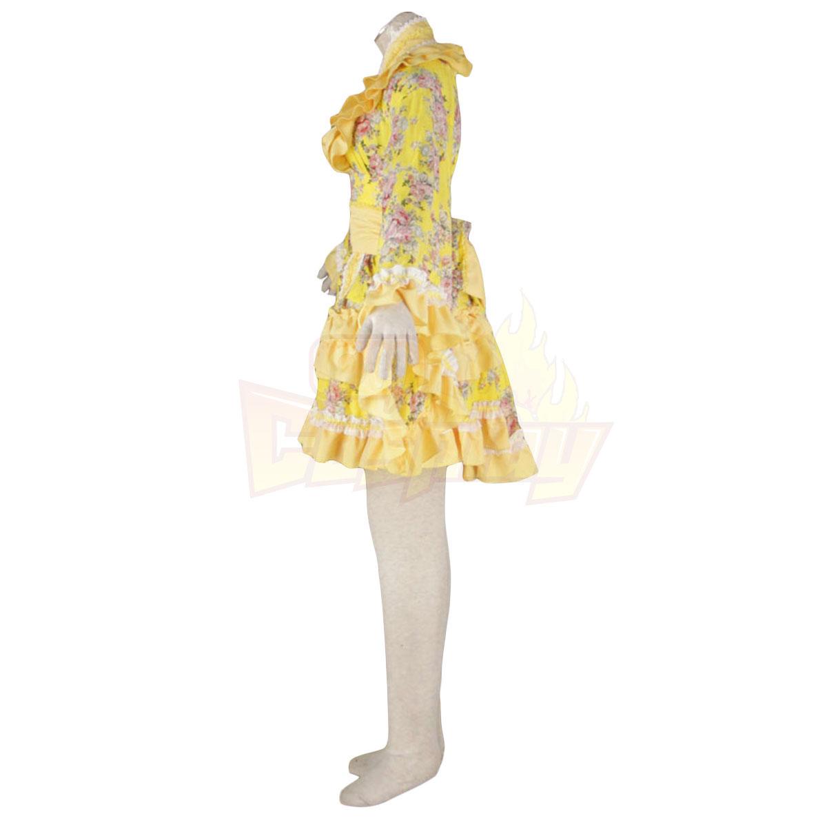 호화로운 로리타 문화 노란색 의류 타이어 짧은 드레스 기모노 코스프레 의상