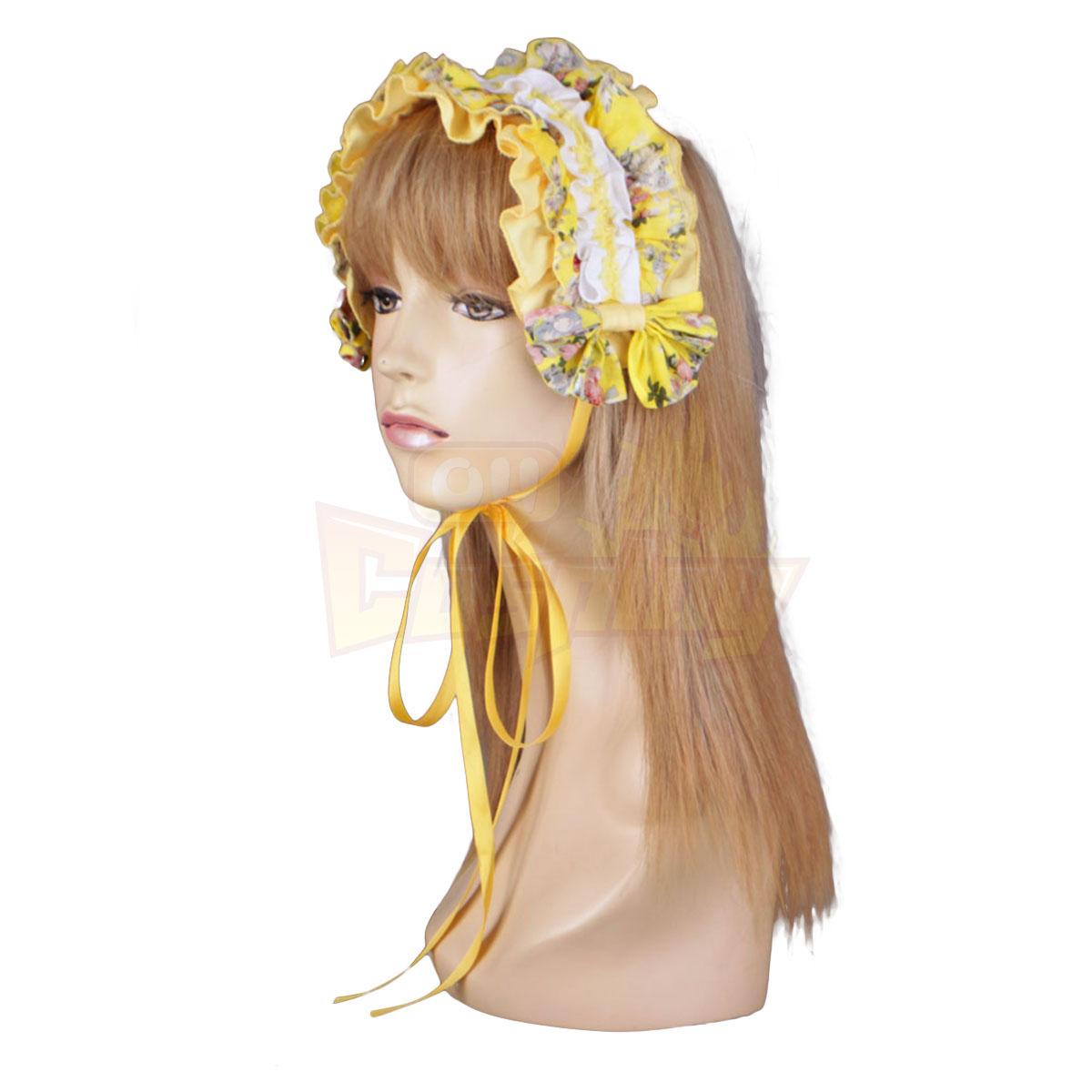 ديلوكس لوليتا الثقافة الأصفر القماش الاطارات فساتين قصيرة كيمونو كوزبلاي ازياء
