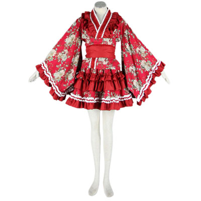 Luxury Canada Lolita Culture Red Cloth Tire Kimono Short Dresses Cosplay Costumes