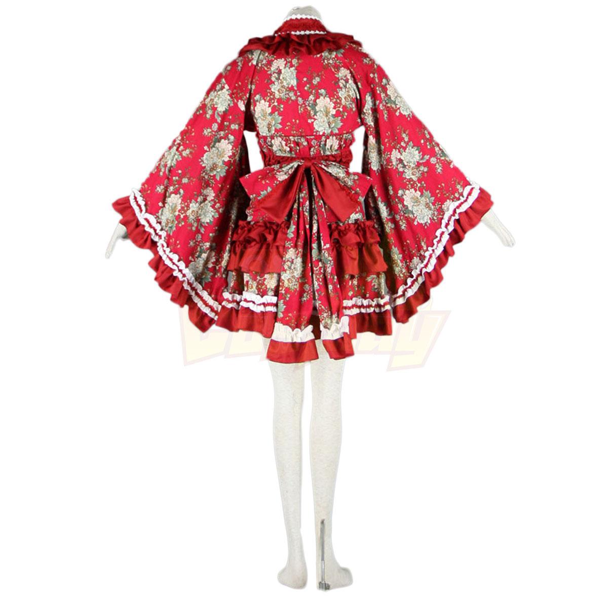 호화로운 로리타 문화 빨간 의류 타이어 기모노 짧은 드레스 코스프레 의상