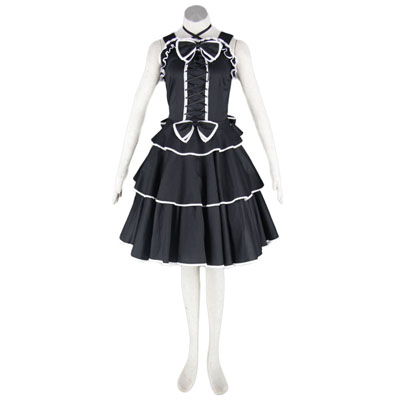 Deluxe Lolita Culture Black Spaghitti Middle Dresses Cosplay Costumes