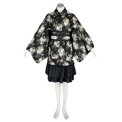 Deluxe Lolita Culture Black Partern Kimono Middle Dresses Cosplay Costumes