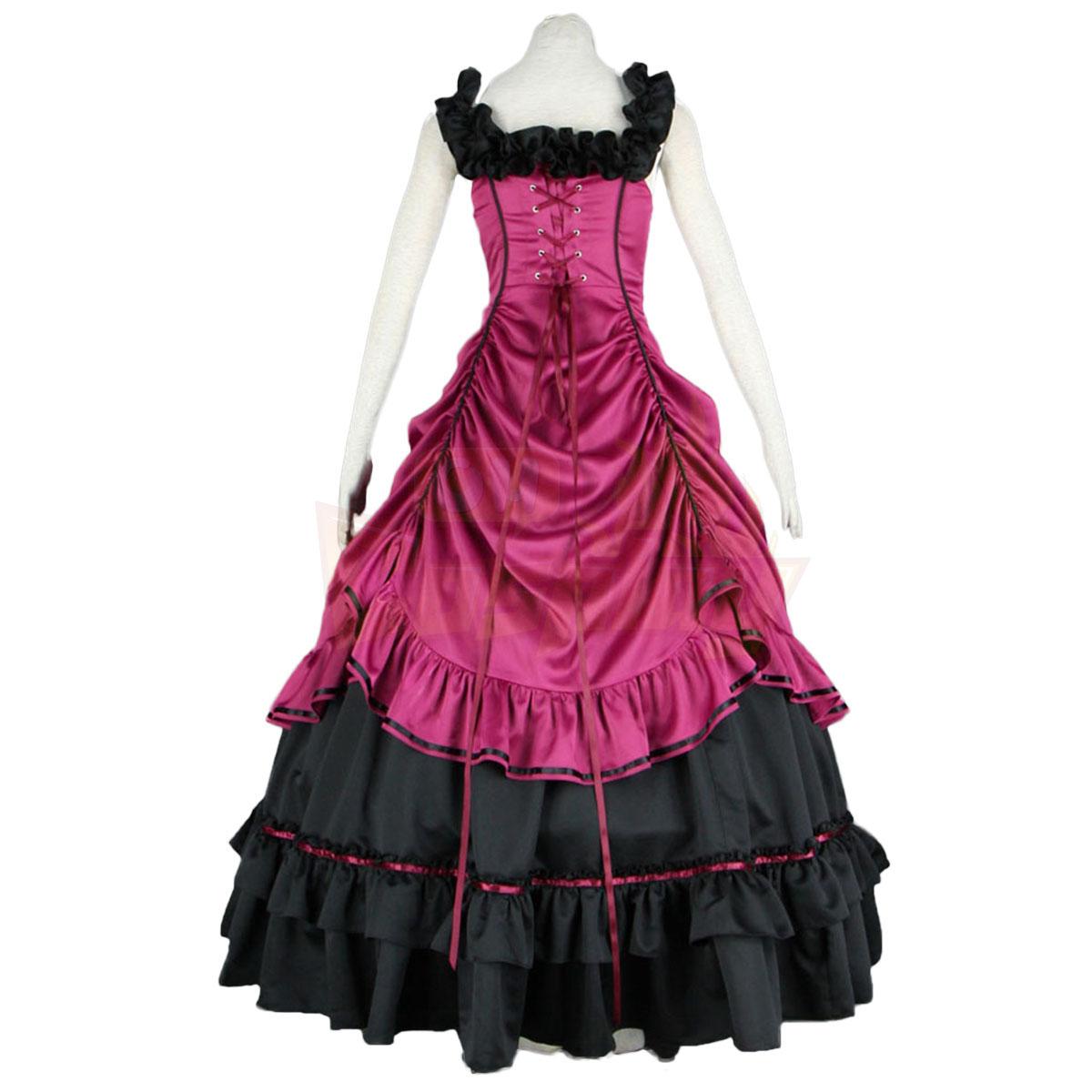 De lujo Disfraces de Lolita Cultura Sleeveless Bustle Largo Vestidos Cosplay
