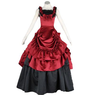 Fantasias Cultura Lolita Sleeveless Bustle Vermelho Vestidos Longos Trajes Cosplay