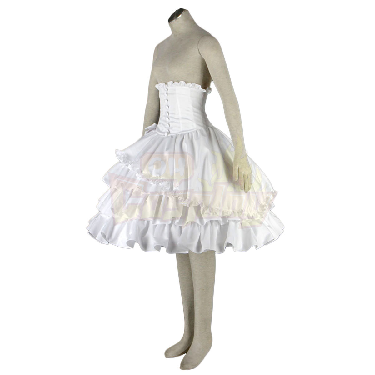 Fantasias Cultura Lolita Girdle Branco Bows Vestidos Metade Trajes Cosplay