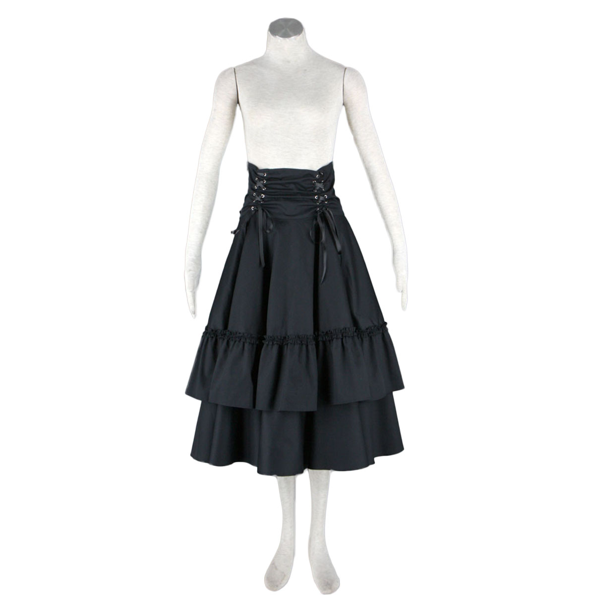 호화로운 로리타 문화 벨트 검은 활 긴 드레스 코스프레 의상