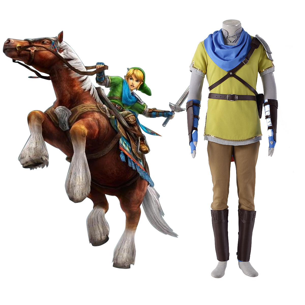 The Legend of Zelda Hyrule-Warriors Link 7TH Yellow Cosplay Costumes Deluxe Edition