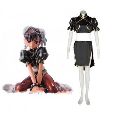 Street Fighter Chun-Li 2ND Black Cosplay Costumes Deluxe Edition