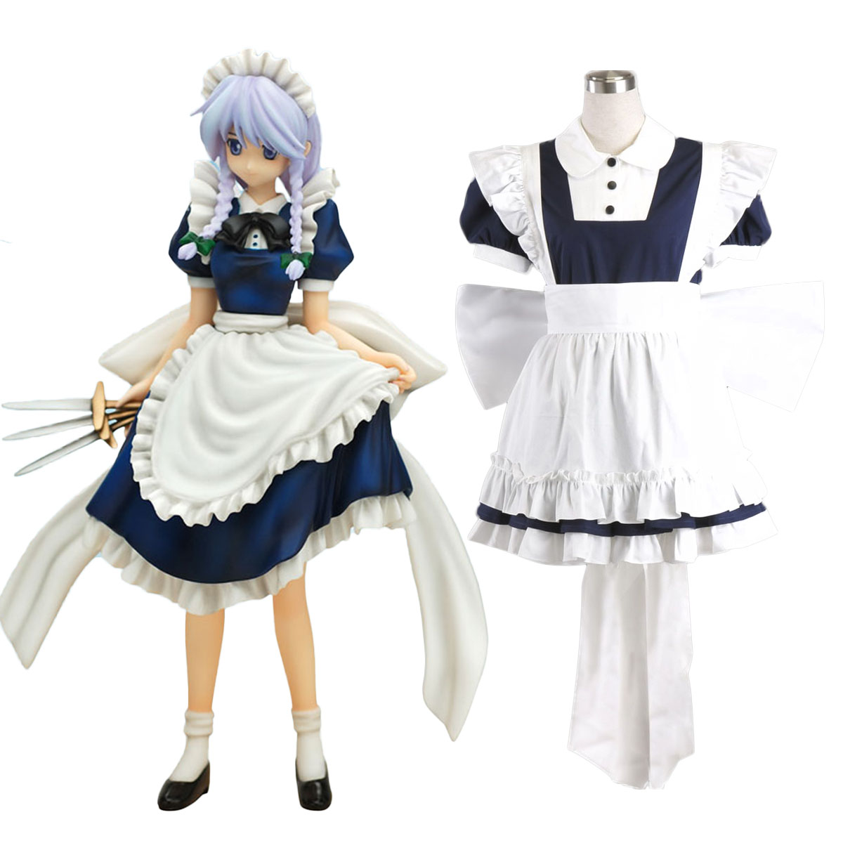 Touhou Project Izayoi Sakuya Cosplay Costumes Deluxe Edition