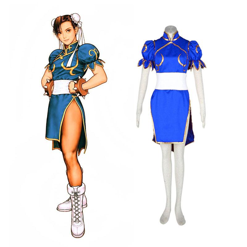Street Fighter Chun-Li 1 Blå udklædning Fastelavn Kostumer