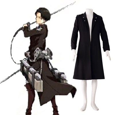 Attack on Titan Levi Svart Cosplay Kostym