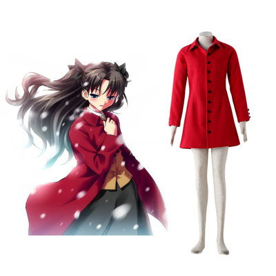The Holy Grail War Tohsaka Rin 4 Röd Cosplay Kostym
