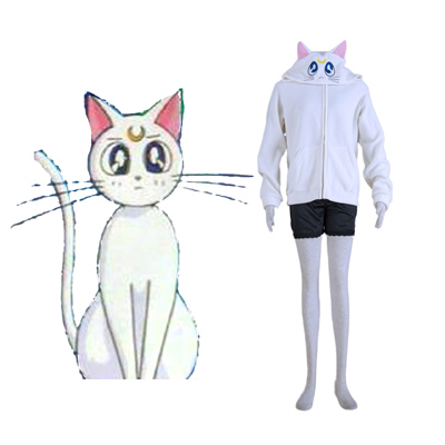 Sailor Moon Branco Cat Artemis Traje Cosplay