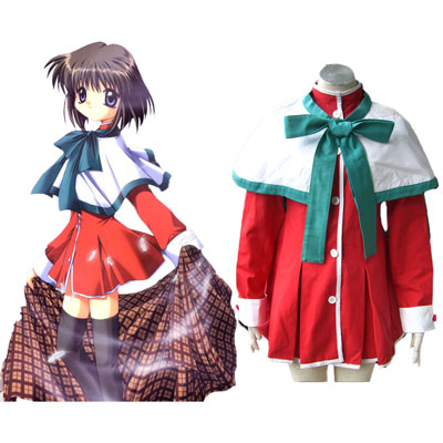 Kanon High Schooluniform Green Ribbon Cosplay Kostuums
