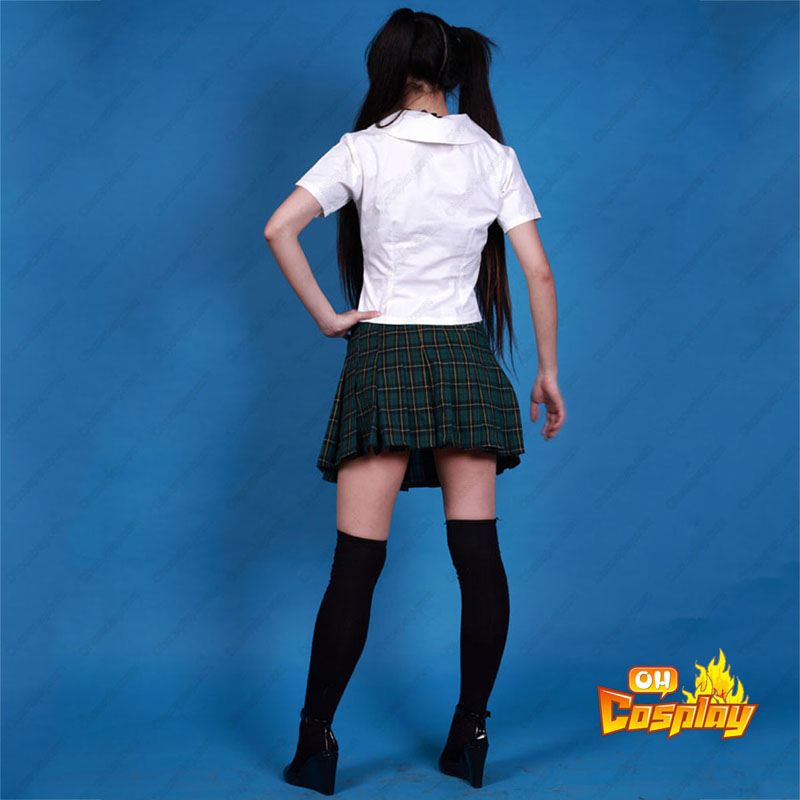 Sailor Suit Uniform 2 Green Grid Cosplay Kostymer