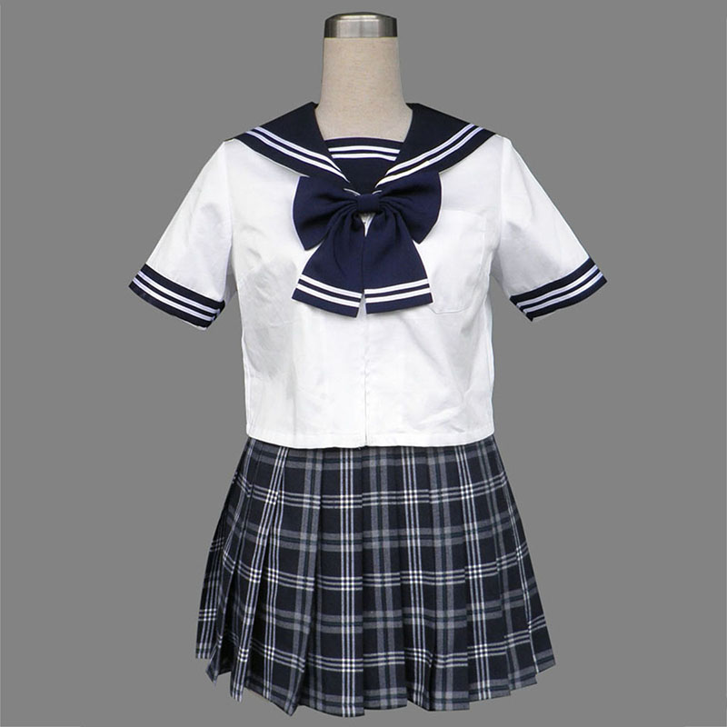 Sailor Uniform 5 Svart Grid Cosplay Kostym