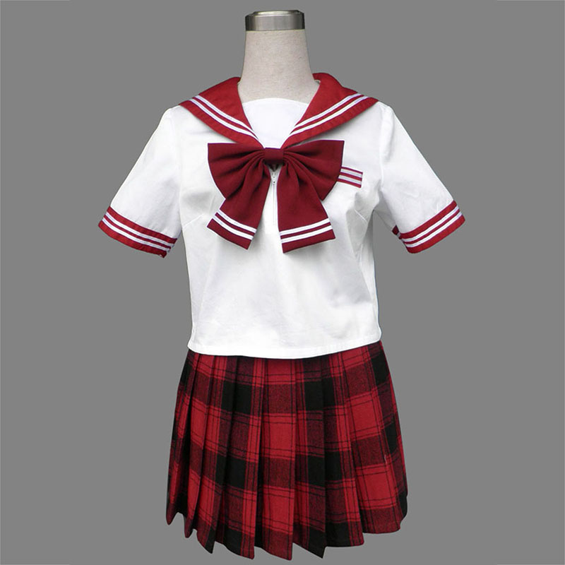 Sailor Uniform 6 Rød Grid Cosplay Kostymer