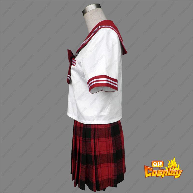 Sailor Uniform 6 Röd Grid Cosplay Kostym
