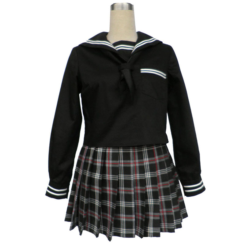 Sailor Uniform 7 Röd Svart Grid Cosplay Kostym