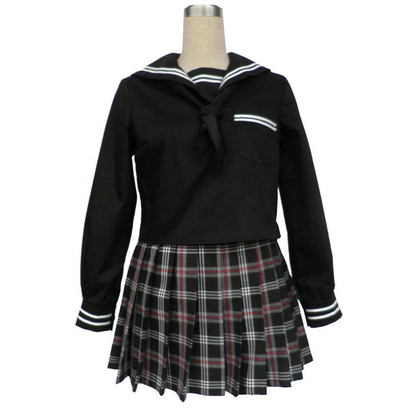 Sailor Uniform 7 Vermelho Preto Grid Traje Cosplay