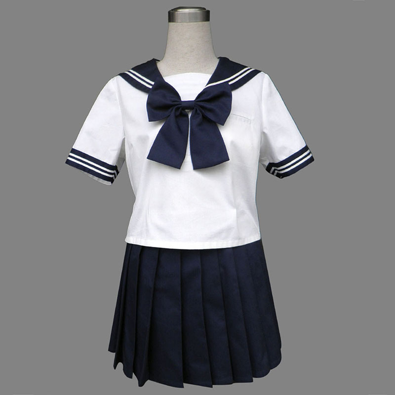 Royal Blå Short Sleeves Sailor Uniform 8 Cosplay Kostym