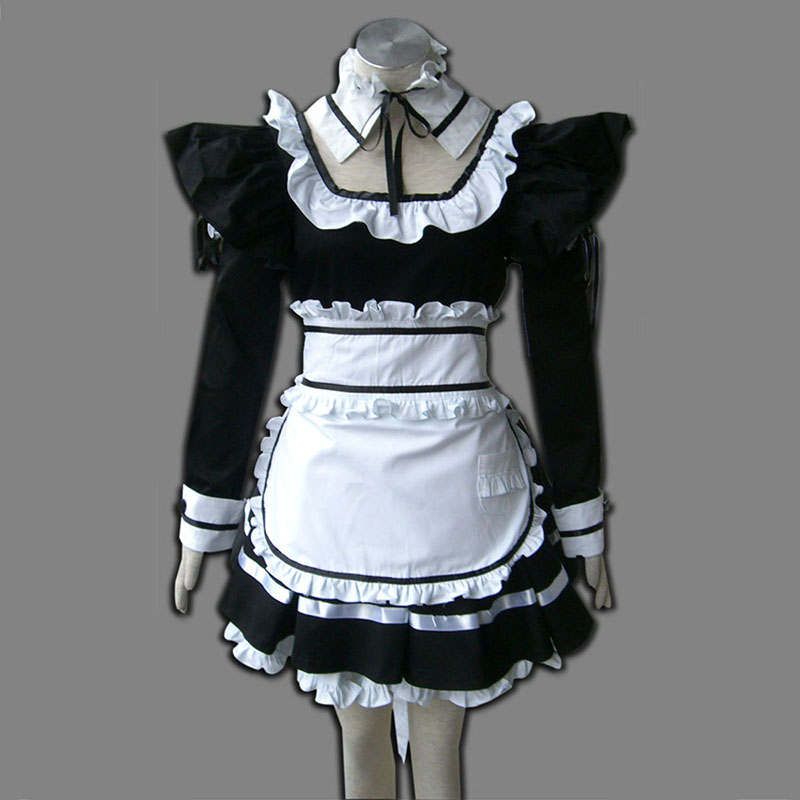 Preto Maid Uniform 1 Traje Cosplay