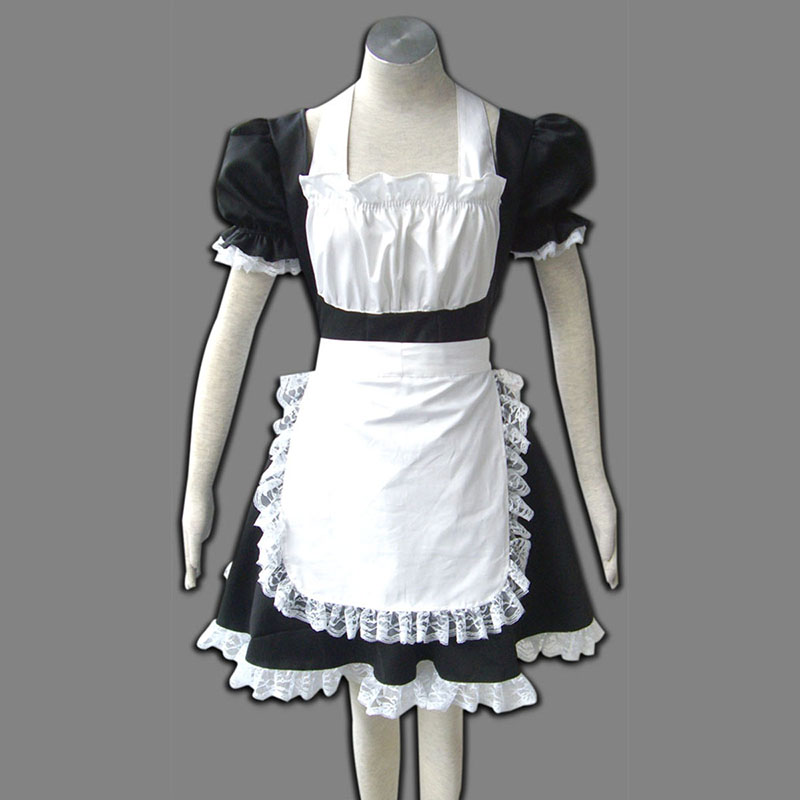 Maid Uniform 2 Preto Winged Angle Traje Cosplay