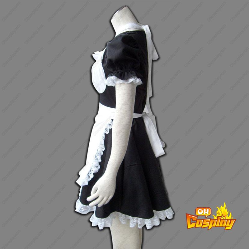 Maid Uniform 2 Preto Winged Angle Traje Cosplay