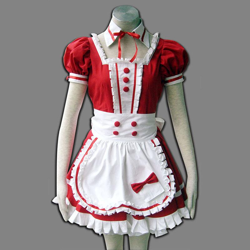 Rød Maid Uniform 6 Cosplay Kostymer
