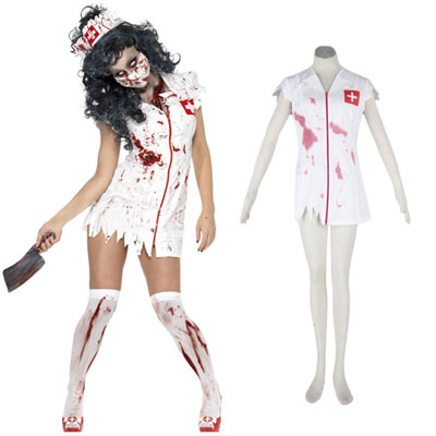Halloween Culture Zombie Burst Blood Nurses 1ST Cosplay Costumes Deluxe Edition