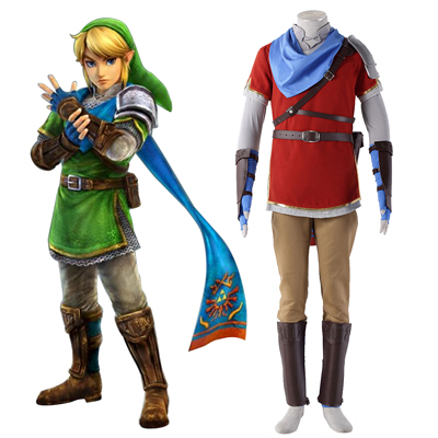 The Legend of Zelda Hyrule-Warriors Link 6 Röd Cosplay Kostym