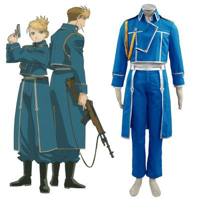 Fullmetal Alchemist Male Military Uniform Cosplay Kostym