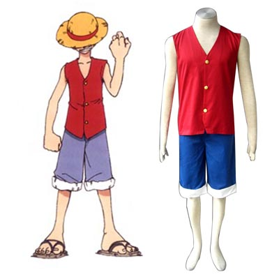 One Piece Monkey D. Luffy 1 červená Cosplay Kostýmy