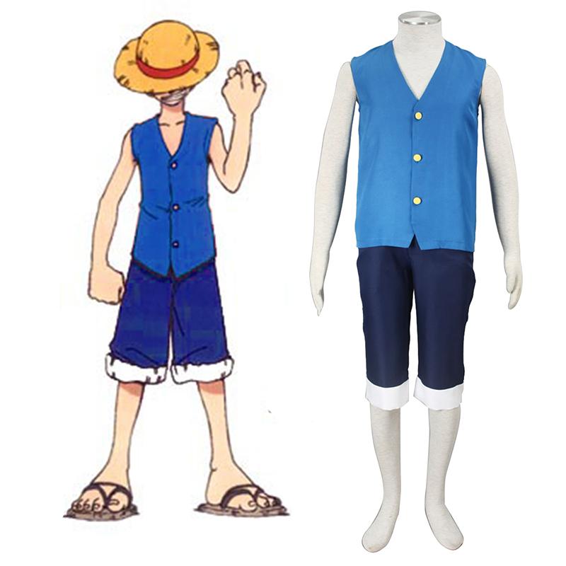 One Piece Monkey D. Luffy 2 Azul Traje Cosplay
