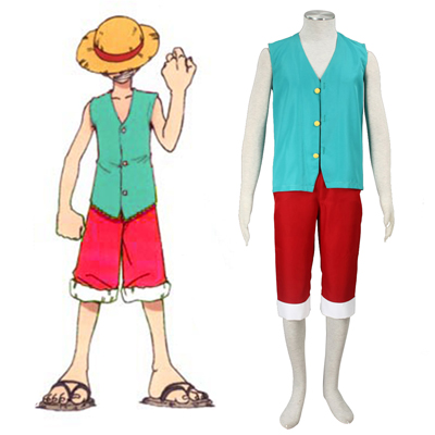 One Piece Monkey D. Luffy 3RD Green Cosplay Costumes Deluxe Edition