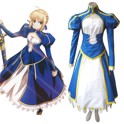 The Holy Grail War Saber 1 Blå Cosplay Kostym