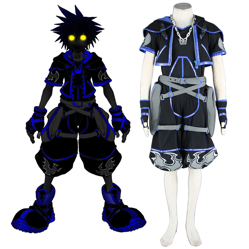 kingdom hearts sora 4th black cosplay costumes