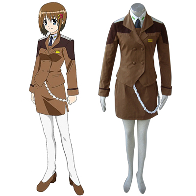 Magical Girl Lyrical Nanoha Kvinna Military Uniform Cosplay Kostym