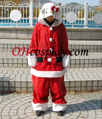 Santa Kitty Roupa pijama Vermelho Kigurumi