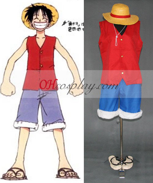 One Piece Luffy 1st Cosplay Set + Hat + Sandals