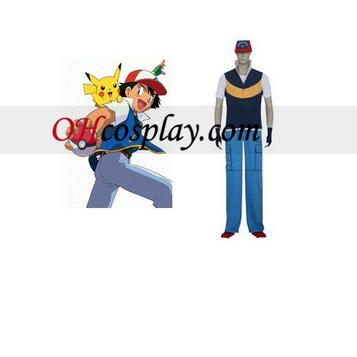 Pokemon Ash Ketchum Royal-blauw en geel Cosplay Costume
