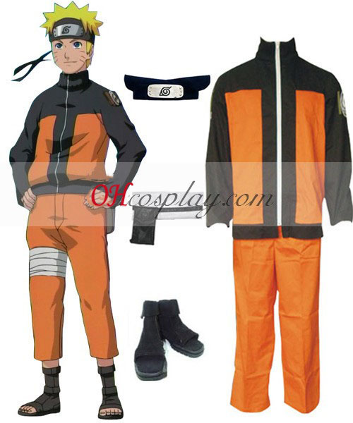 Naruto Shippuuden Uzumaki Naruto Cosplay kostyme sett