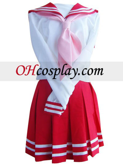 Red de manga larga falda de traje de marinero cosplay uniforme