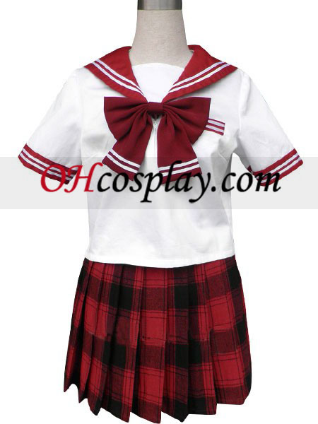 Red Short Black Short Sleeves Grid Skirt Sailor Uniform Cosplay Costume