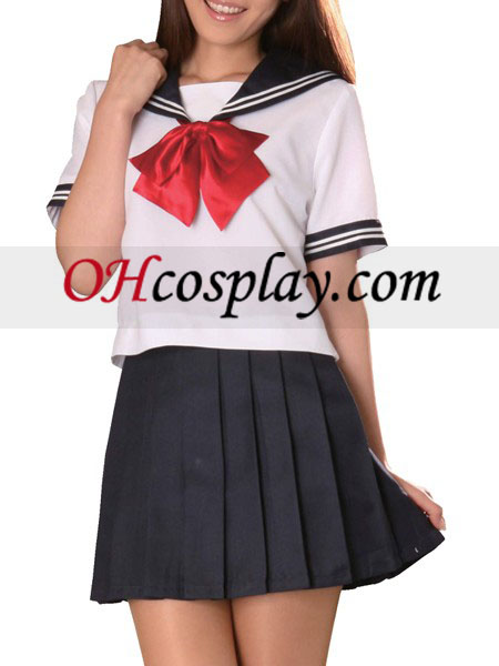 Red Bowknot Short Sleeves Sailor Uniform Cosplay Costume Australia