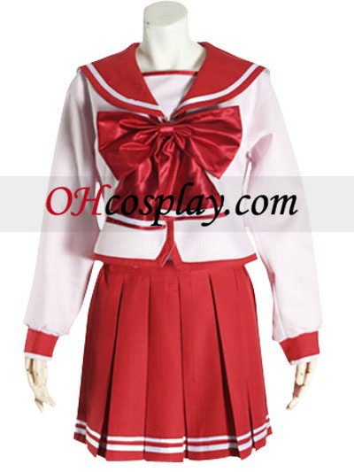 Red Bowknot mangas largas del uniforme escolar cosplay