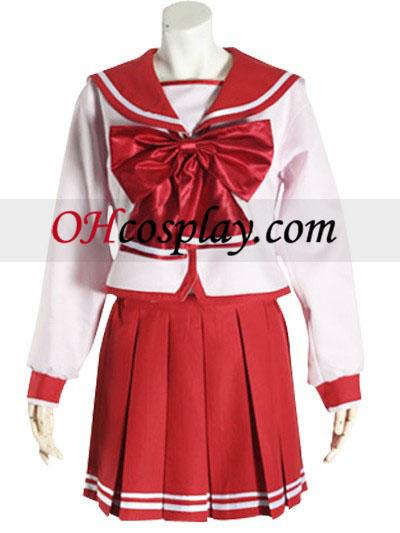 Red Bowknot Lange ærmer skoleuniform udklædning Kostume